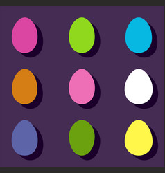 easter color eggs set vector image