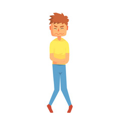 guy holding belly in stomach cramps pain adult vector image vector image