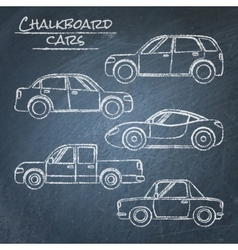 Set of car sketches on chalkboard vector image vector image