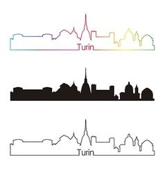 Turin skyline linear style with rainbow vector image