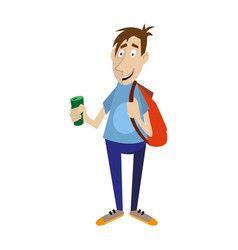 Young man holds in his hand a bottle of drink vector