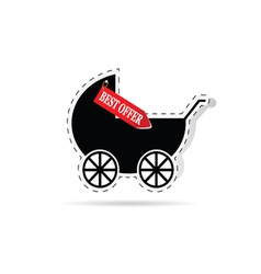 baby carriage as label vector image