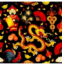 Chinese New Year Spring Festival seamless pattern vector image
