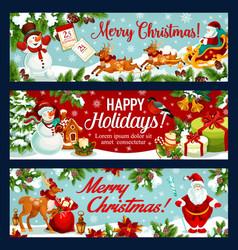 christmas festive banner of santa sleigh with gift vector image