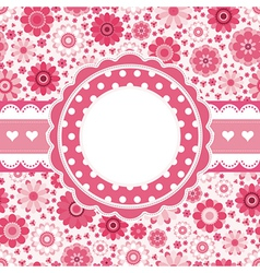 Pink retro card with floral pattern Seamless vector image vector image