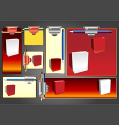 Web banner set with boxes and pens vector image