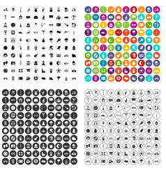 100 bicycle icons set variant vector