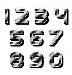 3D black striped numbers font vector
