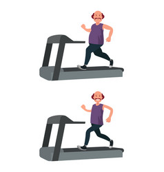 a fat man runs on a treadmill and loses weight vector image