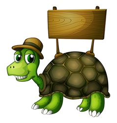 A turtle with a wooden signboard at the back vector image