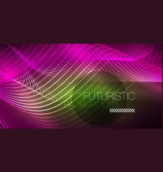 abstract shiny glowinng color wave design element vector image
