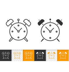 alarm clock simple black line icon vector image