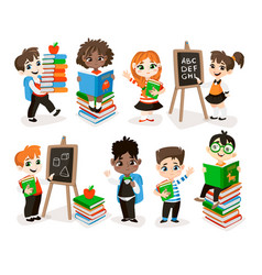 back to school set with pupils vector image vector image