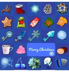 Big christmas set of objects 23 icons vector