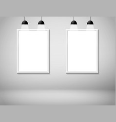 blank white frame on wall with lamp vector image