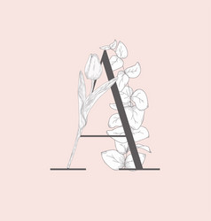 Blooming floral elegant a monogram and logo vector