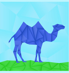 blue camel polygonal origami like vector image