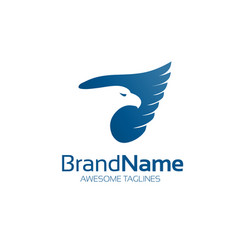 Blue eagle hawk logo bird logo vector