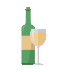 Bottle of White Wine and Glass Isolated vector