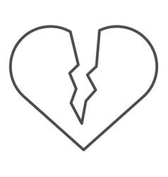 broken heart thin line icon sad love vector image