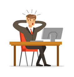 Businessman holding his head by two hands while vector