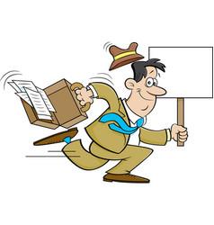 Cartoon businessman running with a sign vector