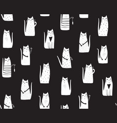 cats on black background vector image