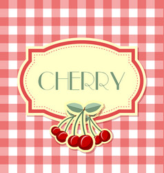 cherry label in retro style on squared background vector image