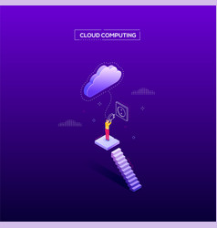 Cloud computing - modern isometric web vector