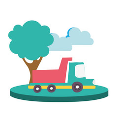 colorful dump truck in the city with clouds and vector image