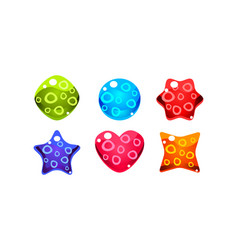 colorful jelly glossy figures woth bubbles vector image