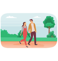 dating couple outdoor cityscape in day time vector image