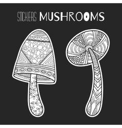 Decorative mushrooms Black white stickers vector