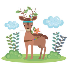 deer woodland animal with feather crown vector image