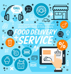delivery service of food and drinks vector image