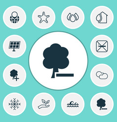 Eco-friendly icons set with protect nature cloudy vector