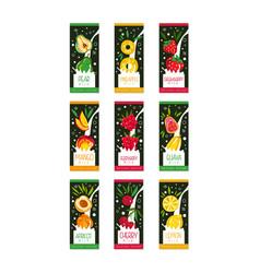 Emblems for fruit milk 9 various tastes pear vector