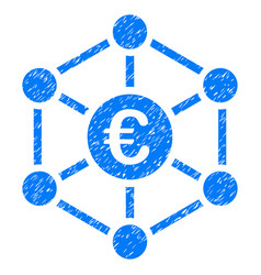 Euro bank network grunge icon vector