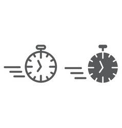 fast stopwatch line and glyph icon time and speed vector image