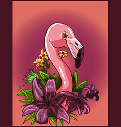 flamingo in a flowers garden design living coral vector image