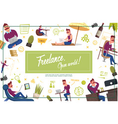flat freelance composition vector image