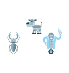 flat robots set isolated vector image