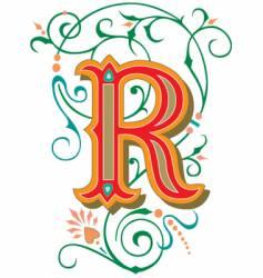Floral letter r vector