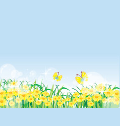 Floral summer or spring landscape meadow with vector
