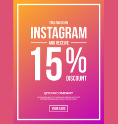 Follow us on instagram sign poster vector