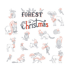 Forest christmas set vector