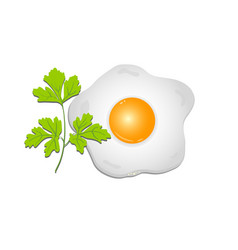 fried egg with a sprig of parsley on a transparent vector image