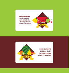 fruit fruity business card background and vector image