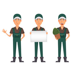 Gardener man cartoon character in uniform vector