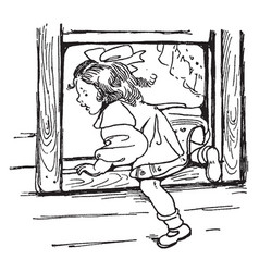 Girl leaving through window vintage vector
